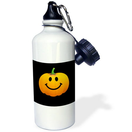 3dRose Orange pumpkin smiley face on black - cute happy Halloween jack o lantern cartoon - fun smileys, Sports Water Bottle, 21oz (Smiley Pumpkin)