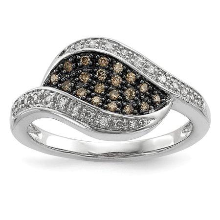 Sterling Silver 2 MM Champagne Diamond Fancy Marquise Ring, Size 7 (0.20 CTW) (Fancy Marquise Cut Diamond)