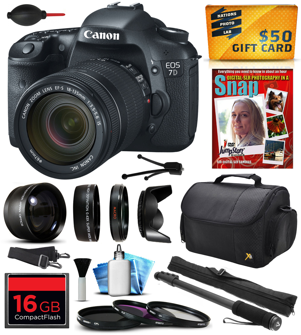 Canon EOS 7D 18MP CMOS Digital SLR Camera with 18-135mm f/3.5-5.6 IS UD Lens with 16GB Memory + 2.2x Telephoto + 0.43x Lens + Hood + UV-CPL-FL Filters + Monopod + Cleaning Kit + $50 Gift Card 3814B016