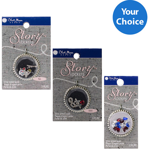 3 Pack Your Choice Blue Moon Story Lockets Acrylic Charm Assortment