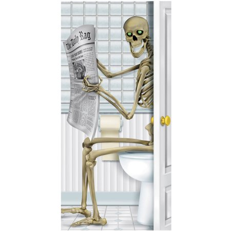 Skeleton Restroom Door Cover Halloween Decoration for $<!---->