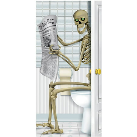 Skeleton Restroom Door Cover Halloween Decoration (Marilyn Manson Halloween Cover)