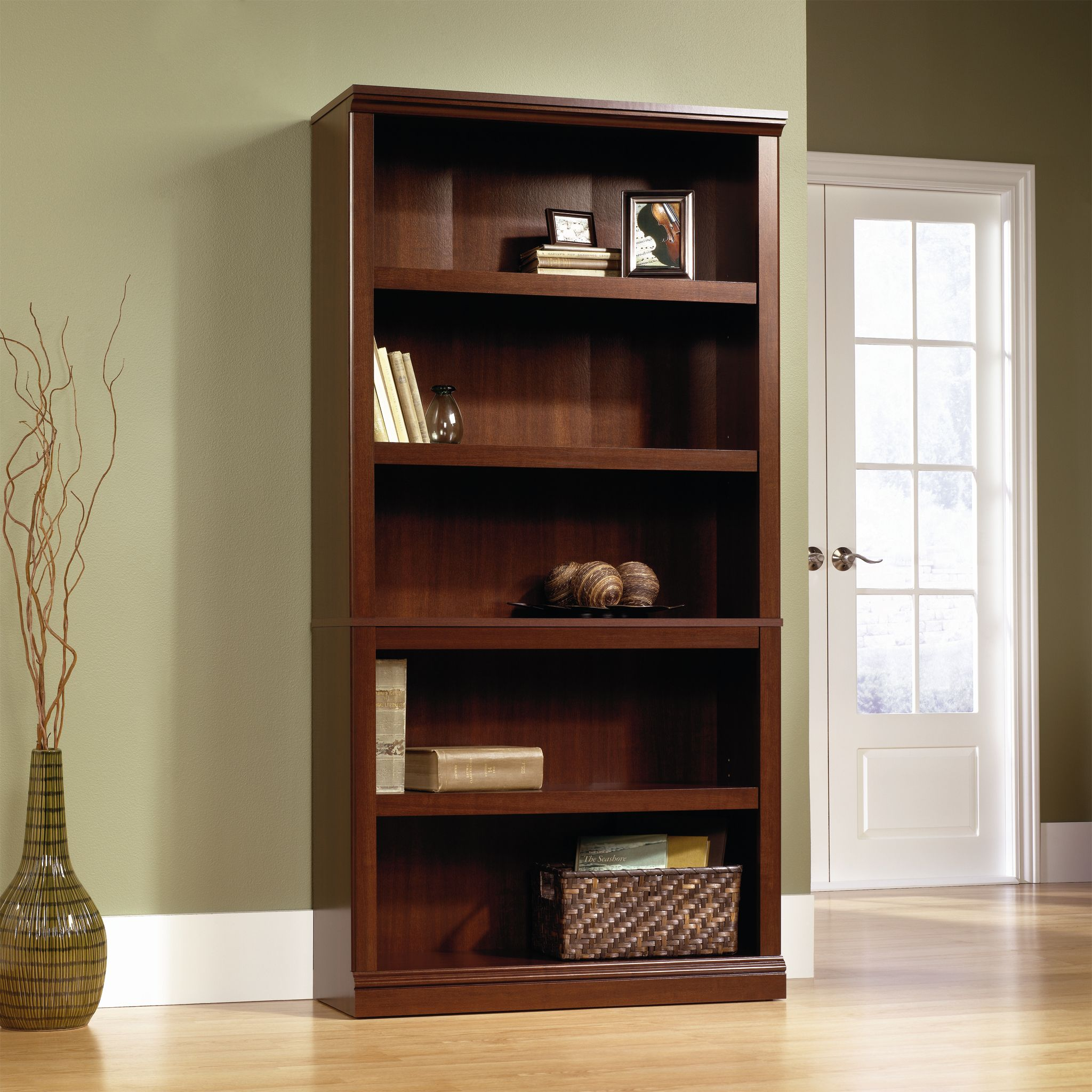 Sauder 5-Shelf Bookcase, Select Cherry Finish by Sauder