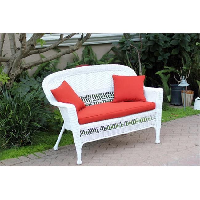 Jeco W00206-L-FS018-CL White Wicker Patio Love Seat With Red Orange Cushion And Pillows