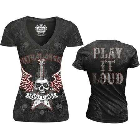 - Lethal Threat Live Loud Womens V-Neck T-Shirt (Black, Medium)
