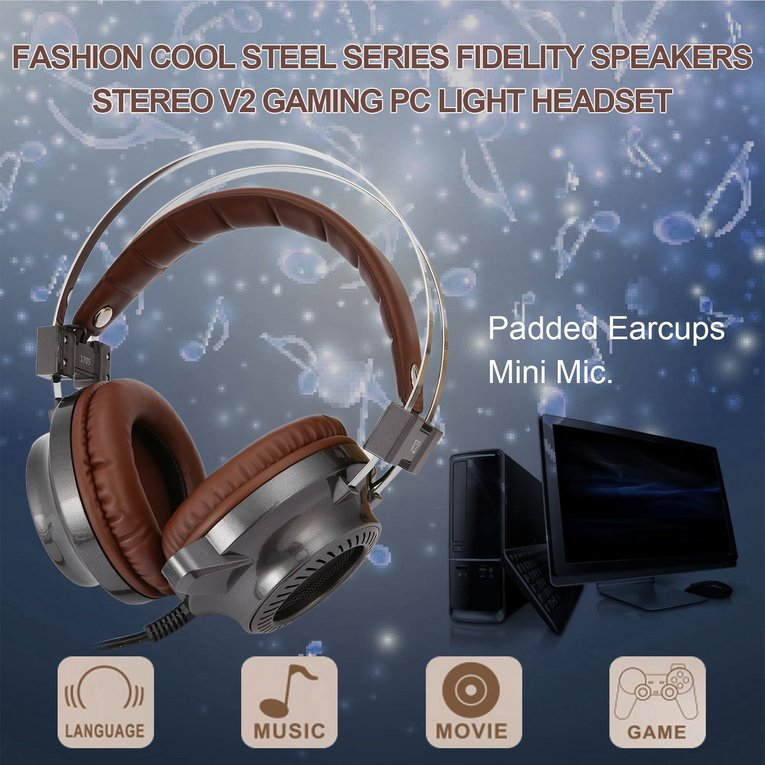Fashion Cool Steel Series Fidelity Speakers Stereo V2 Gaming PC Light Headset