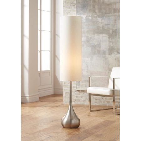 Possini Euro Design Mid Century Modern Floor Lamp Brushed Steel Droplet  Tall Cotton Cylinder Shade for Living Room Bedroom Office