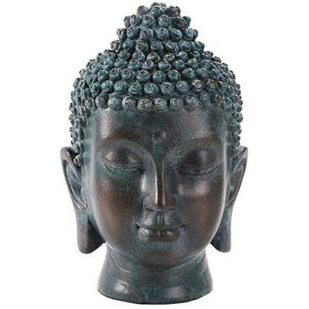 6.5 Inch Buddha Head Buddhist Religious Bronze Finish Statue Figurine (Tarnished Bronze) Buddha Bronze Finish
