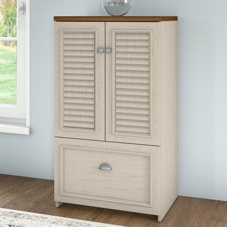 Bush Furniture Fairview Storage Cabinet with Drawer in Antique White and Tea Maple