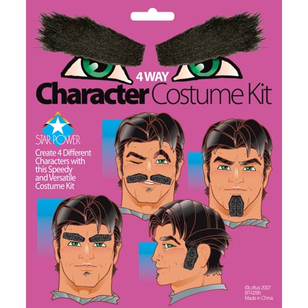 Star Power 4 Way Hair Mustache Beard Eyebrows Sideburns Accessory Kit, Black - Long Hair And Beard Halloween Costume Ideas