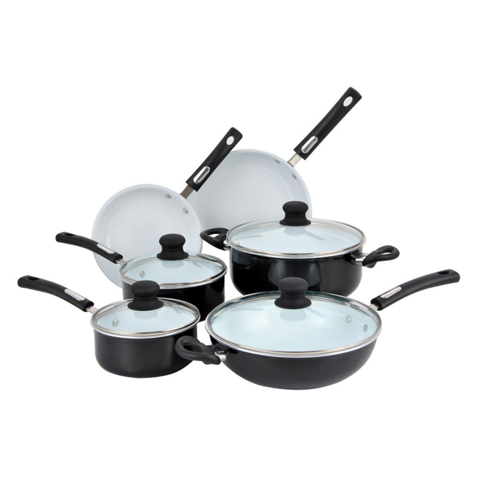 Hamilton Beach 10pc Aluminum Cookware Set, Black