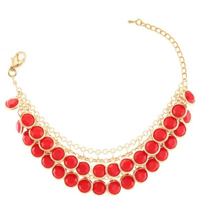 C Jewelry Gold-Tone Red 2 Row Acrylic Beads Bracelets