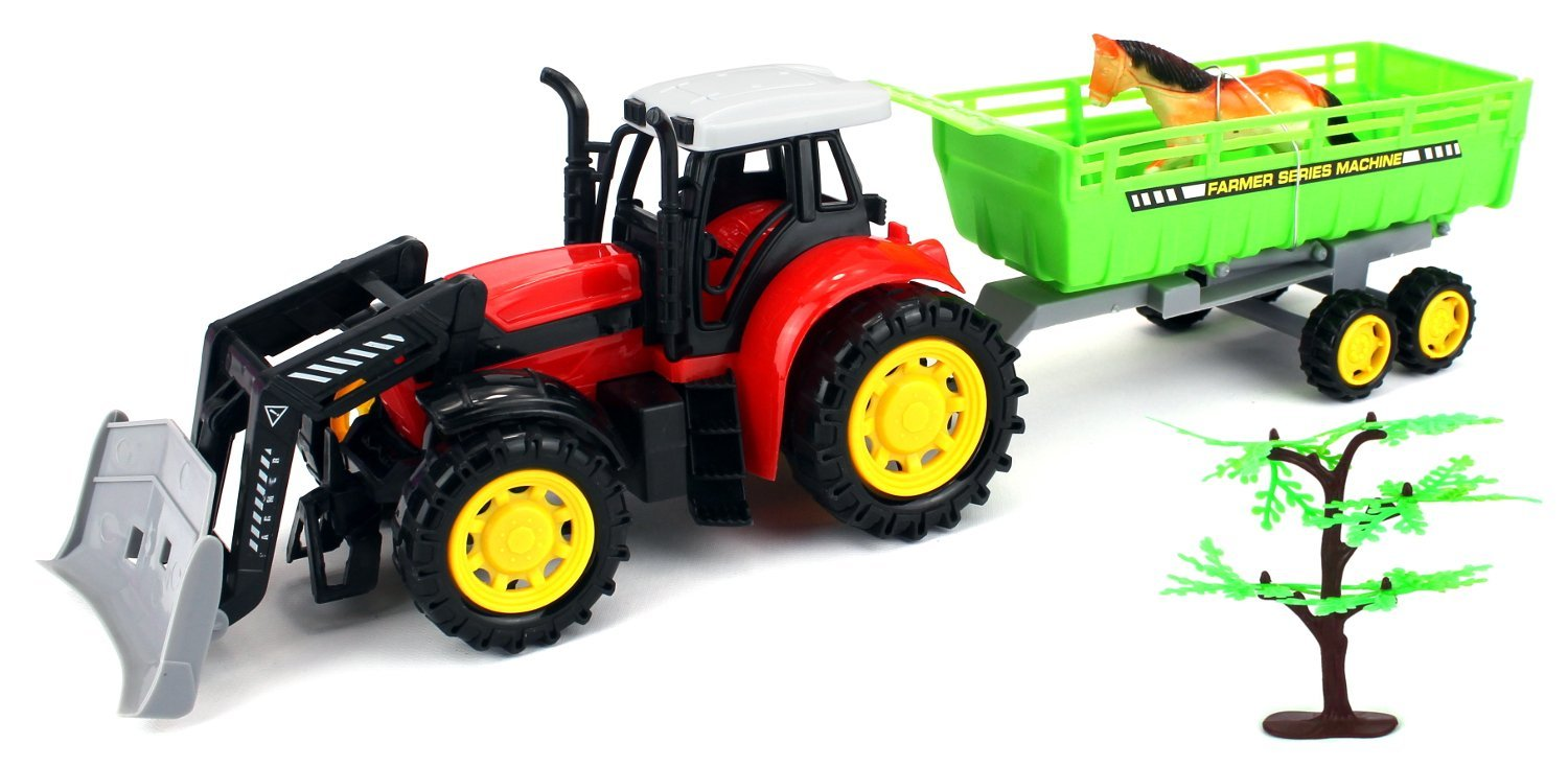 Super Farm Tractor Friction Children's Kid's Toy Truck Playset w  Trailer, Animal Figure... by Velocity Toys