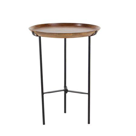 Decmode Rustic 21 X 16 Inch Round Wood And Iron Accent Table ()