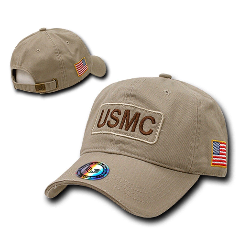 Khaki United States US Marines USMC Military Baseball Polo Washed Cotton Cap Hat