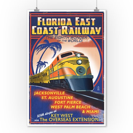 Key West, Florida - East Coast Railway - Lantern Press Artwork (9x12 Art Print, Wall Decor Travel Poster)