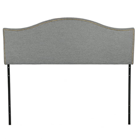 Headboard Fabric Upholstered Modern Heavy Duty Queen Size Gray Linen Curved Shape Tufted Button ()