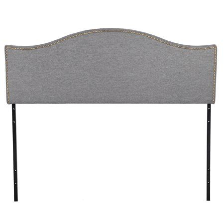 Headboard Fabric Upholstered Modern Heavy Duty Queen Size Gray Linen Curved Shape Tufted Button