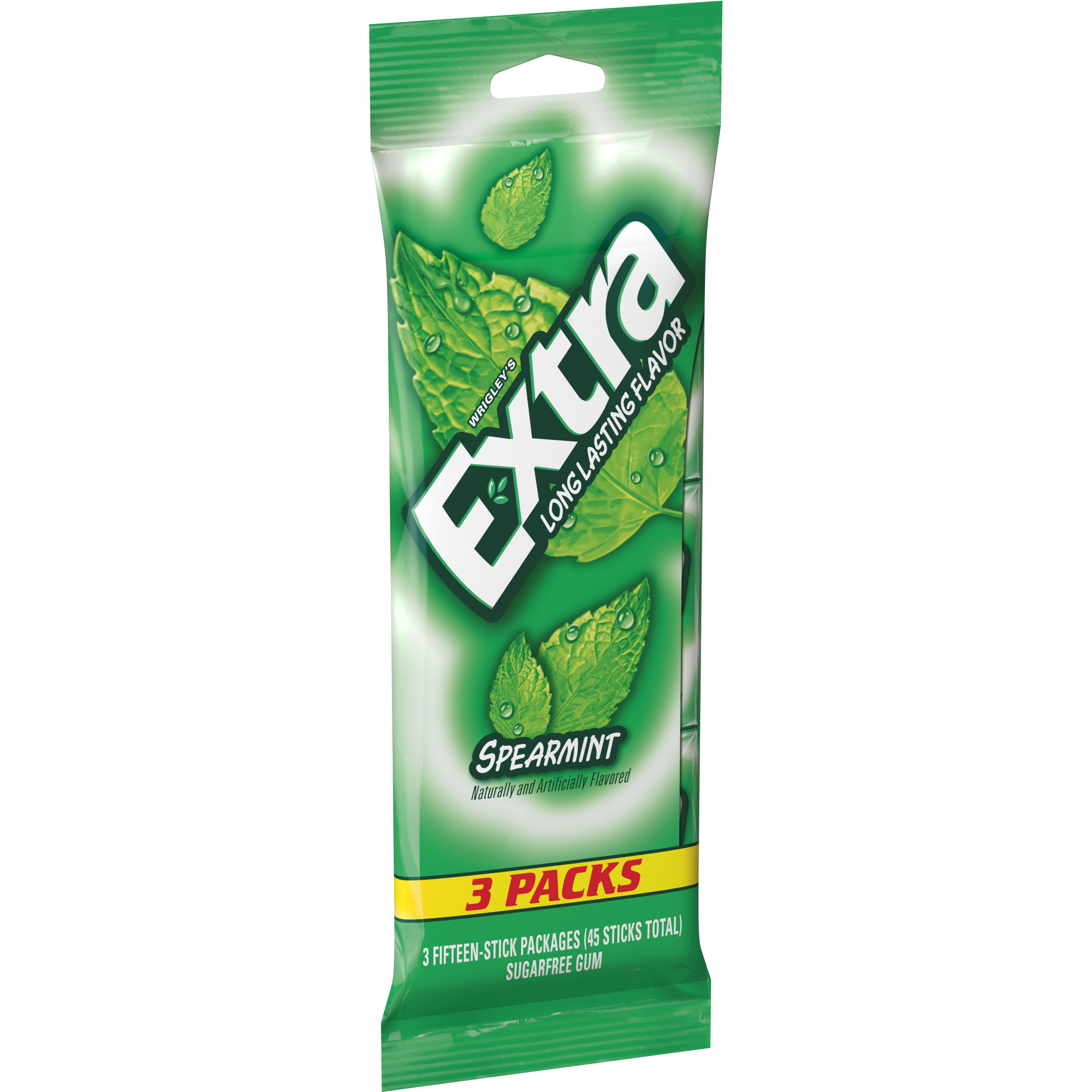 Extra, Sugar Free Spearmint Chewing Gum, 3 Ct