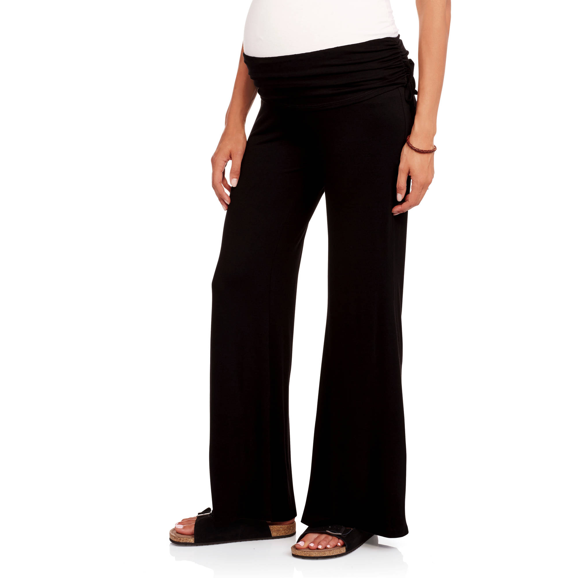 Due Time Maternity Cinched Side Wide Leg Lounge Pants