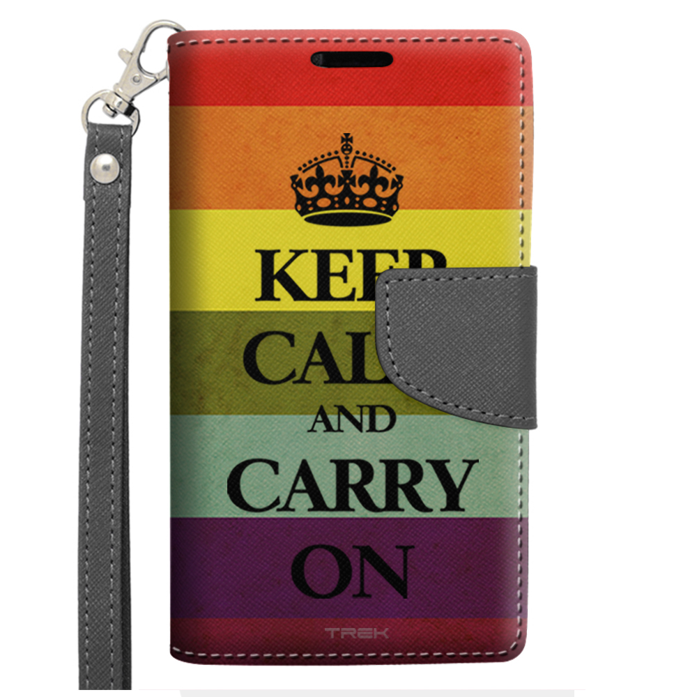 LG F70 TREK Wallet Case - Gay Pride KEEP CALM