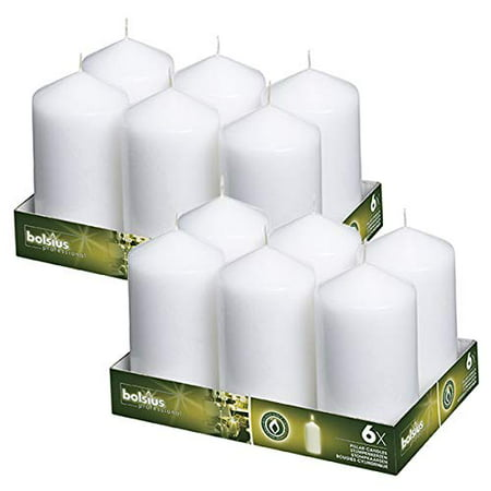 BOLSIUS,Set of 12 White Pillar Candles 3x6 – Unscented Restaurant Candles – White Candles – Nice Wedding Candles – Set of Pillar Party Candles – Home & Party Decorations