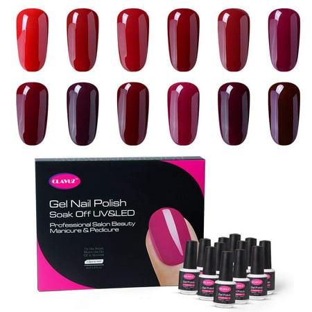Clavuz Gel Nail Polish Kit 12pcs Soak Off Burgundy Red Nail Set New