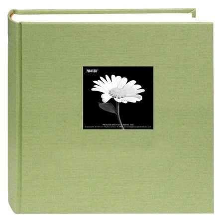 Holds 200 Photos - Fabric Frame Cover Photo Album 200 Pockets Hold 5x7 Photos, Sage Green, Fabric cover features a frame to insert a favorite photo and a deluxe rounded.., By Pioneer Photo Albums,USA