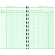 Hammond And Stephens 6.75 x 11 in. Wire-O Bound Class Record Book, Polyice Cover, White And Green