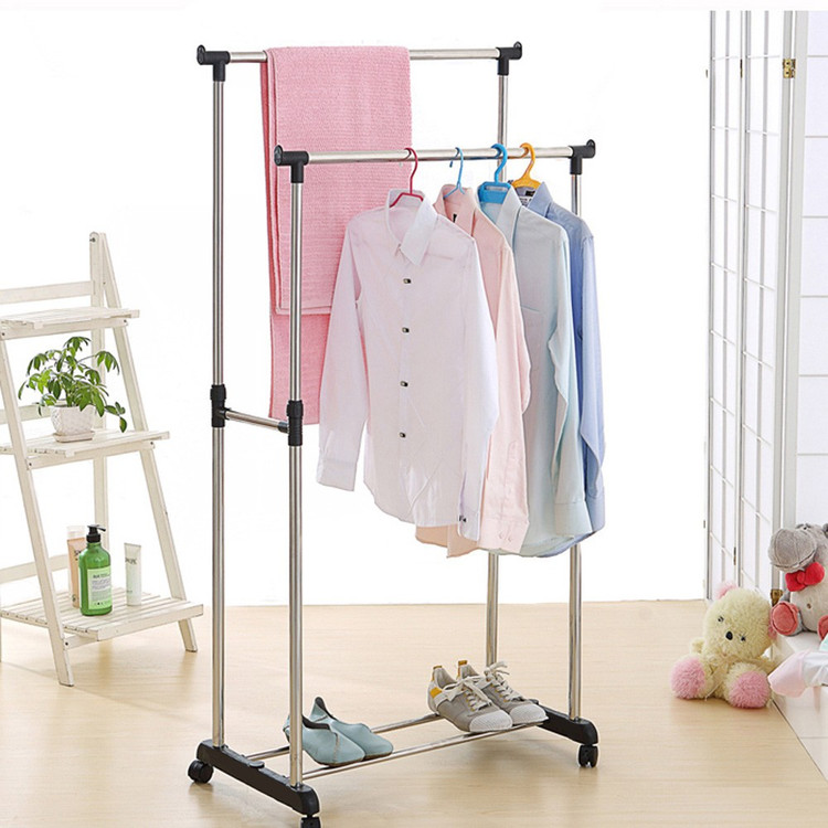 Heavy Duty Collapsible Rolling Clothes Garment Shoe Rack Hanger+1 Tier Storage