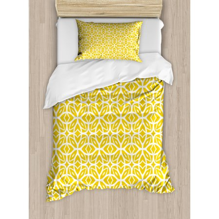 Yellow And White Twin Size Duvet Cover Set Geometric Art Pattern