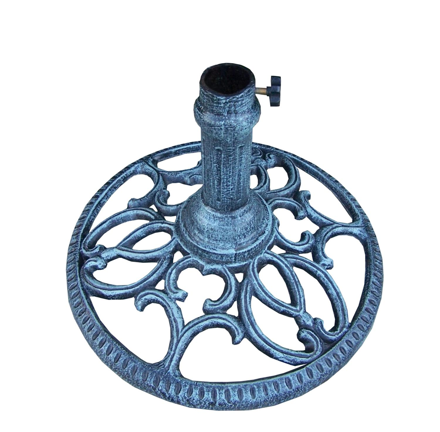 "18"" Round Verdi Gray Filigree Designed Cast Iron Patio Umbrella Stand"
