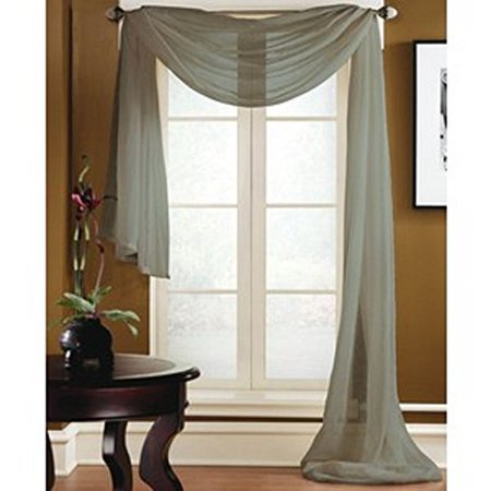 - 1 PC SOLID SILVER GRAY Hotel High Quality Elegant Window-Sheer Scarf Valance swag topper (37