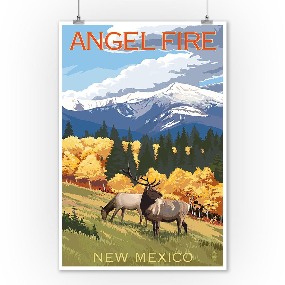 Angel Fire, New Mexico - Elk & Mountains - Lantern Press Poster (9x12 Art Print, Wall Decor Travel Poster)