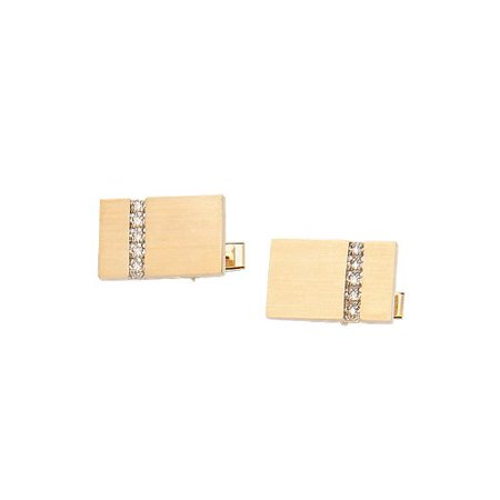 14K Yellow Gold Rectangle Cufflinks With Brushed Finish And Row of Diamonds-86601