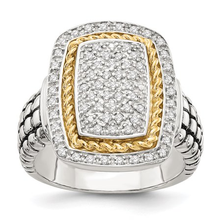 Sterling Silver Two Tone Silver And Gold Plated Sterling Silver w/14ky Diamond Ring - image 3 of 3