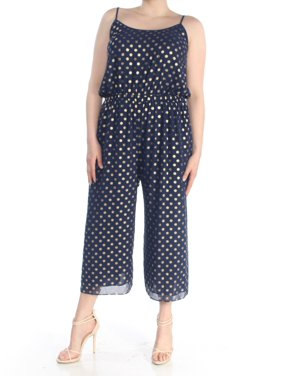 MICHAEL KORS Womens Navy Printed Scoop Neck Jumpsuit  Size: XL