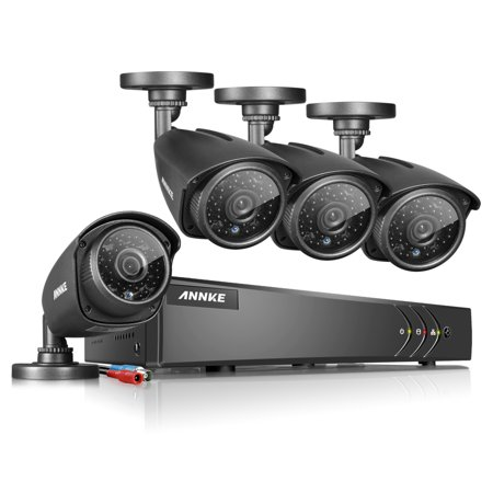 ANNKE 8 Channel Sureillance System 1080N DVR 4Pcs 960p 1.3MP Waterproof Security Cameras with NO Hard Drive
