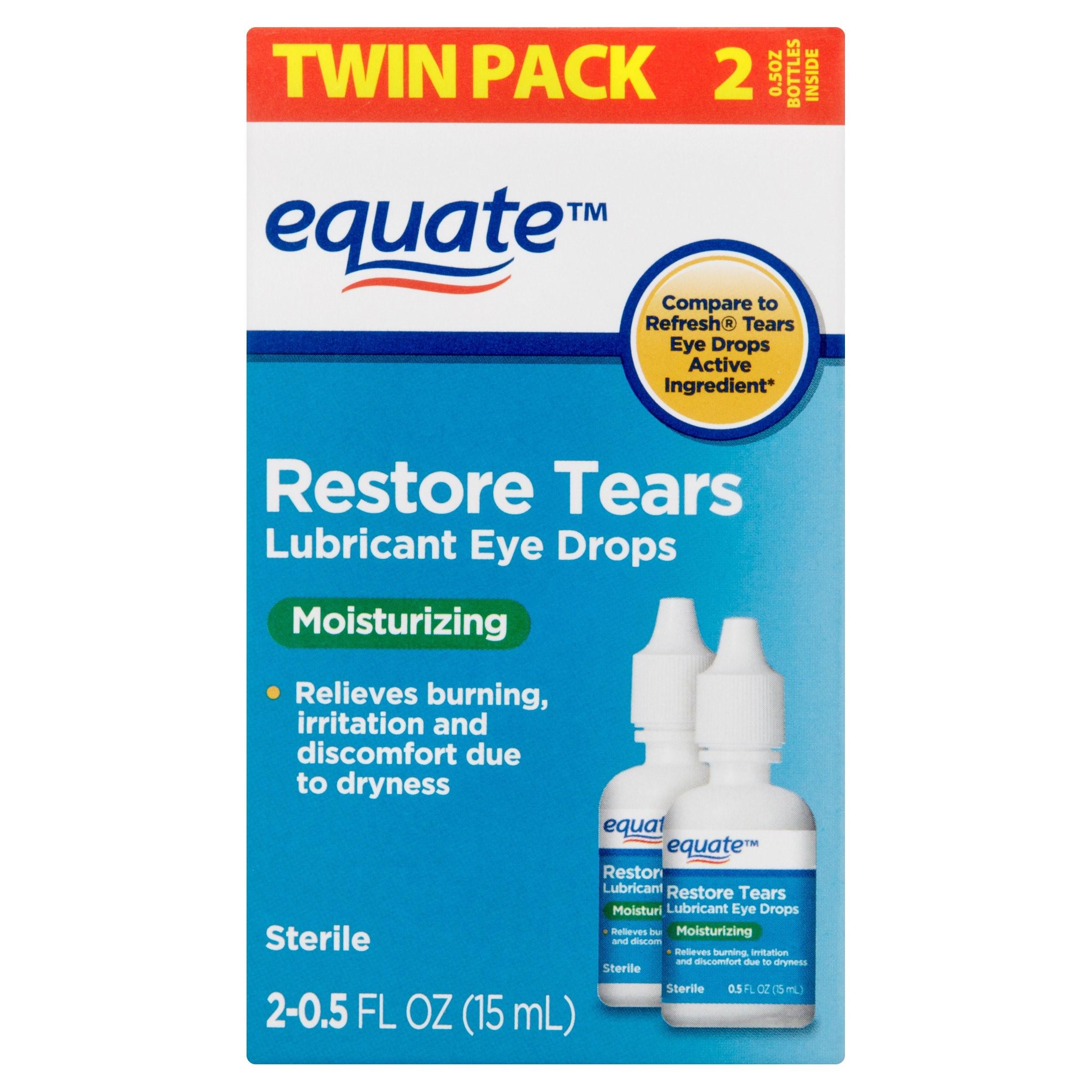 Equate Restore Tears Lubricant Eye Drops, 0.5 Oz, 2 Pk