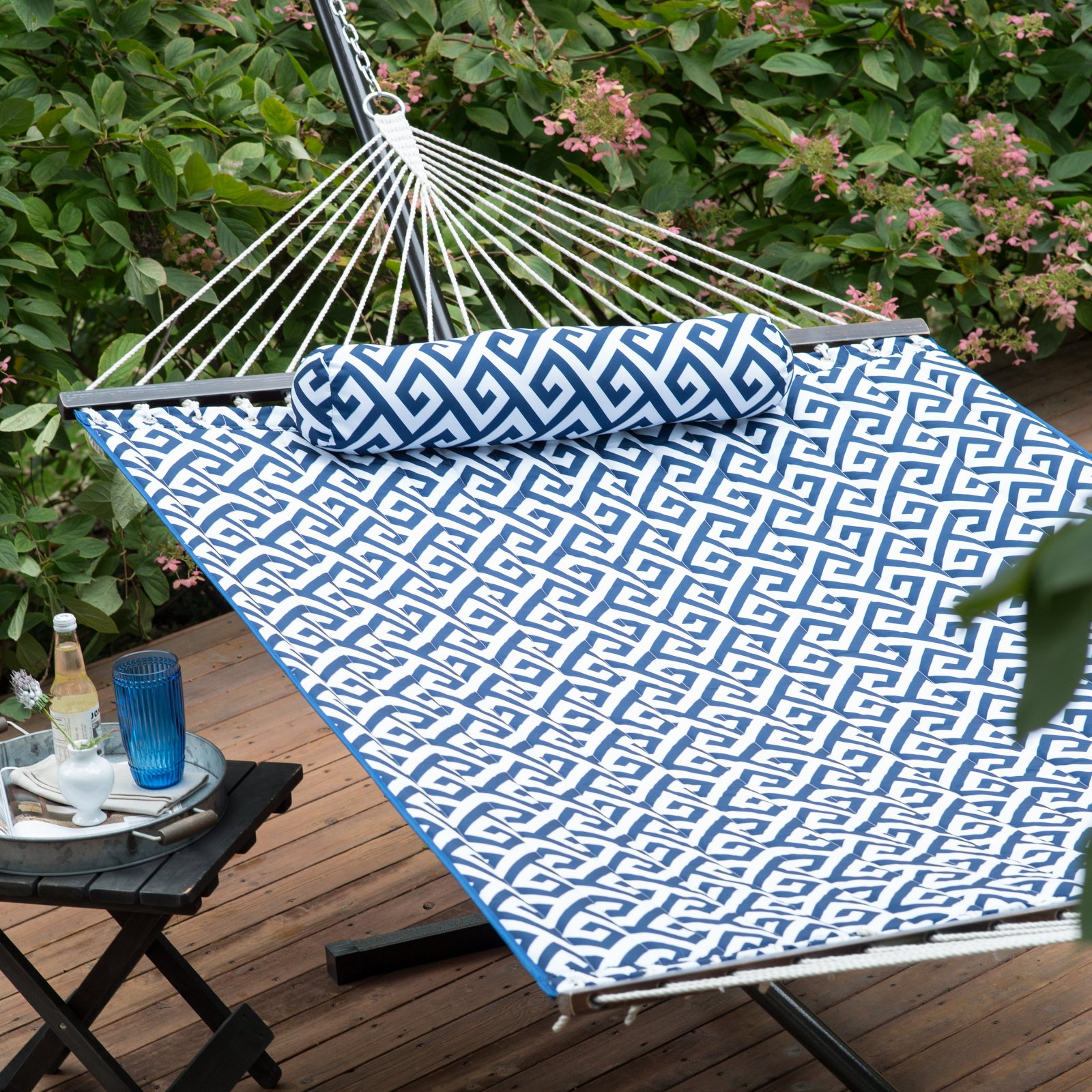 Island Bay 11-ft. Greek Key Quilted Hammock with Metal Stand Deluxe Set