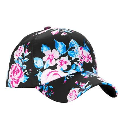 c52b3493 No Boundaries - No Boundaries Women's Floral Bouquets Satin Baseball Hat -  Walmart.com