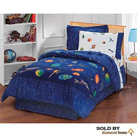 6 Piece Kids Blue Sun Moon Stars Comforter Set, Outer Space Galaxy Invaders Space-themed Design with Stars, Detailed Planet and Rocket Design.., By BCOS