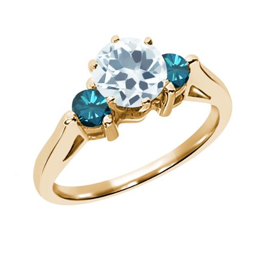 0.58 Ct Sky Blue Aquamarine Blue Diamond 925 Yellow Gold Plated Silver 3-Stone Ring