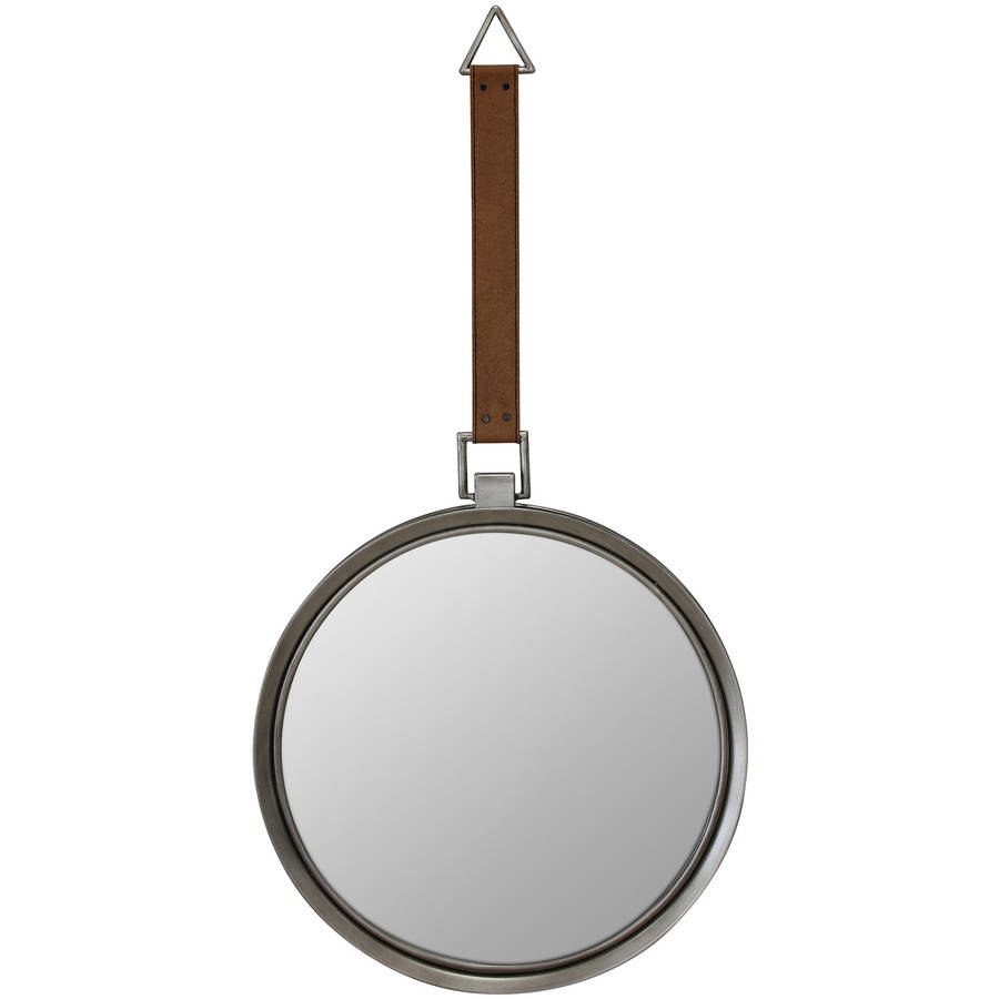 Round Metal Mirror with Hanging Leather Strap by CKK Home Dᅢᄅcor LP