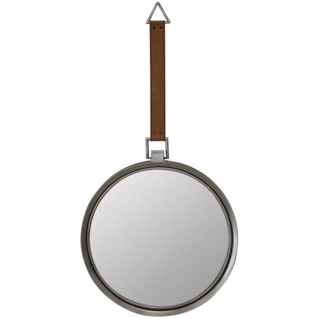Round Metal Mirror With Hanging Leather Strap