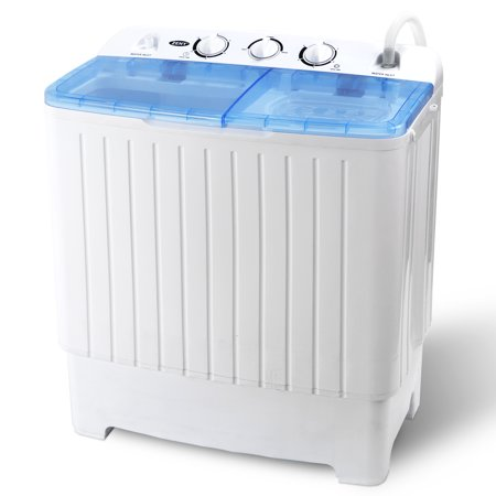 Zeny Compact Twin Tub Wash Machine - With Large Capacity (11lbs Wash + 6.6 Spin), 15/5 mins(Washing / Drying)Timer and Hair Box Powerful Home