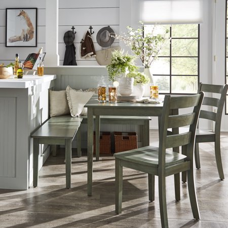 Weston Home Lexington 5 Piece Breakfast Nook Dining Set Rectangular Table Multiple Colors