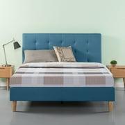 "Zinus Ibidun 43"" Blue Upholstered Tufted Platform Bed, Queen"