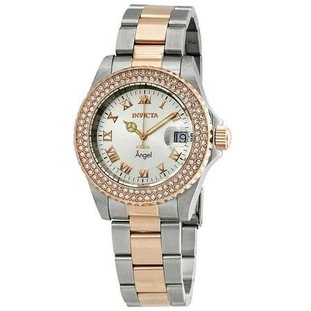 3 Hand Small Watch (Women's 21322 Angel Quartz 3 Hand Silver Dial Watch)