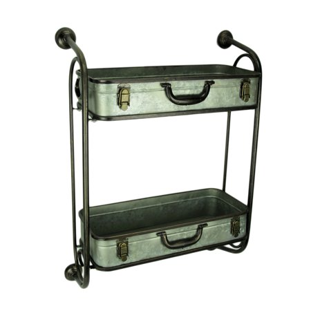 Rustic Metal Pipes and Suitcases Decorative Wall Shelf - image 3 de 3